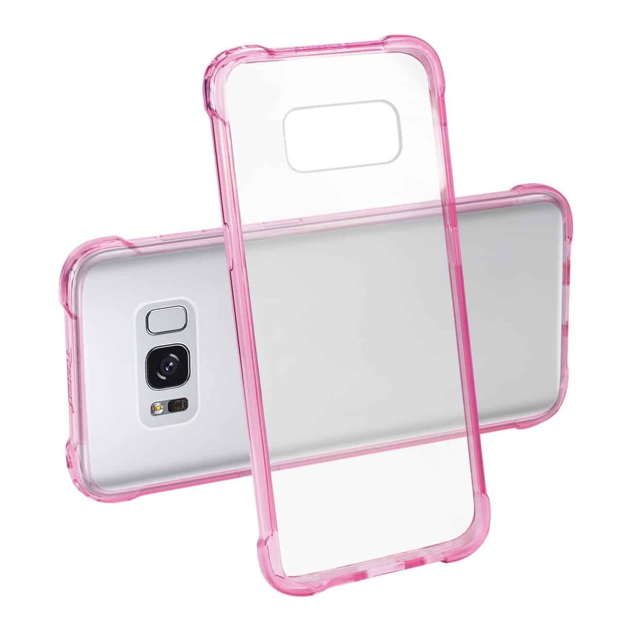 Samsung Galaxy S8 Edge/ S8 Plus Clear Bumper Case With Air Cushion Protection In Clear Hot Pink