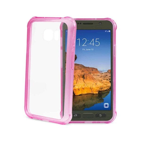 SAMSUNG GALAXY S7 ACTIVE CLEAR BUMPER CASE WITH AIR CUSHION PROTECTION IN CLEAR HOT PINK