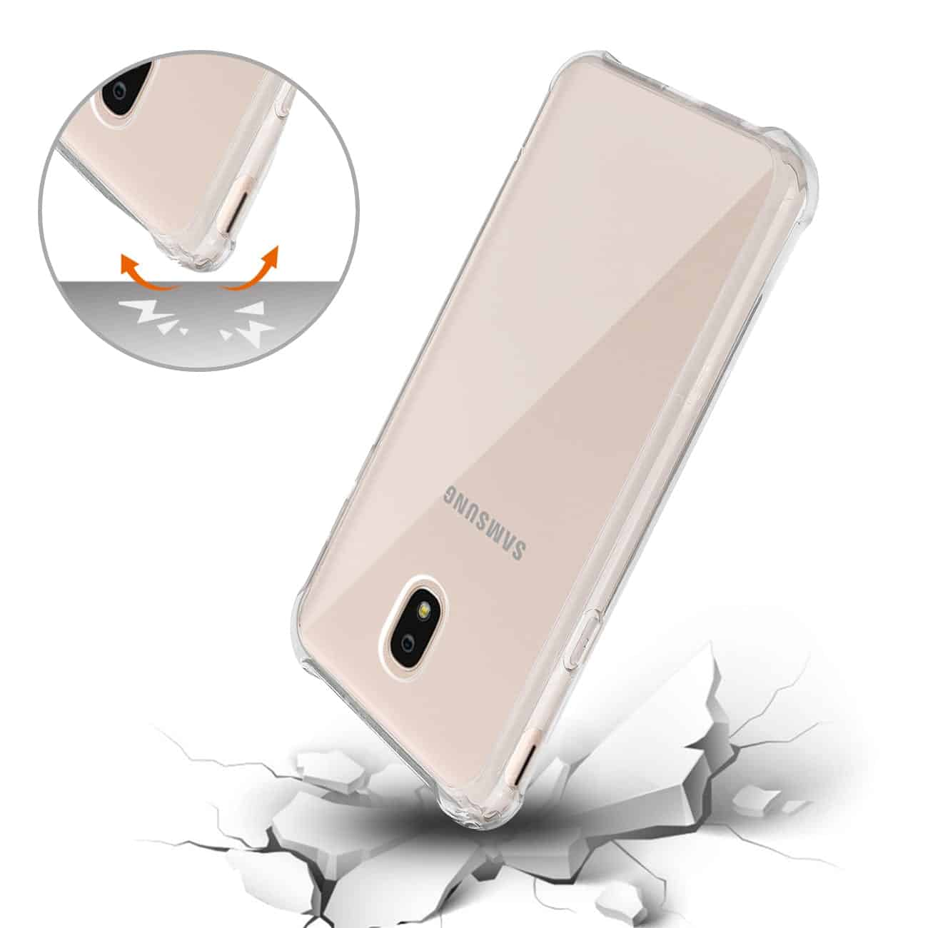 Samsung J7(2018) Clear Bumper Case With Air Cushion Protection In Clear