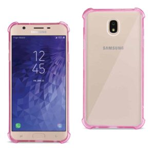 Samsung J7(2018) Clear Bumper Case With Air Cushion Protection In Clear Hot Pink