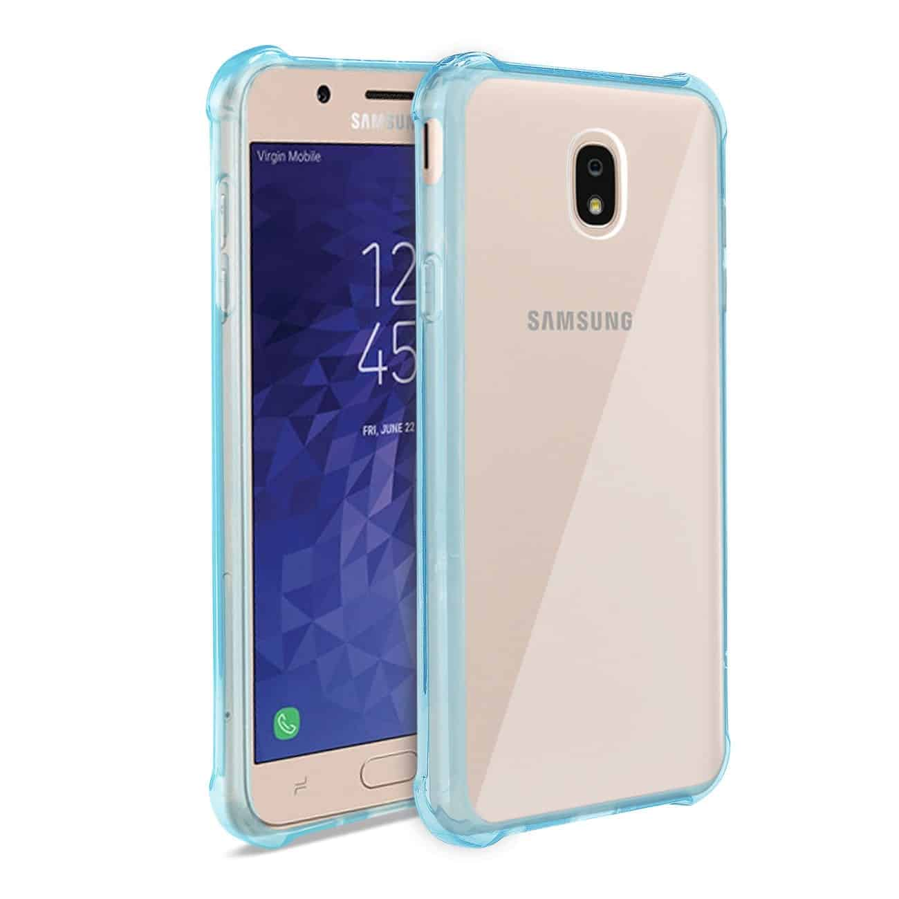 Samsung J7(2018) Clear Bumper Case With Air Cushion Protection In Clear Navy