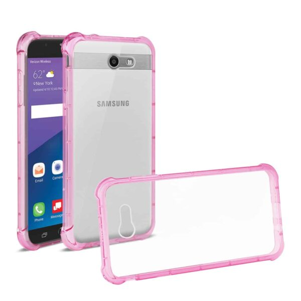 Samsung Galaxy J7 V (2017) Clear Bumper Case With Air Cushion Protection In Clear Hot Pink