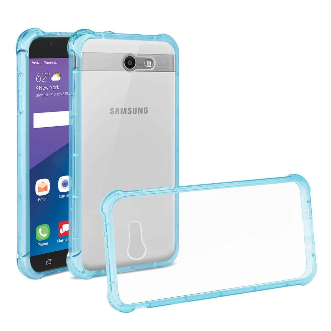 Samsung Galaxy J7 V (2017) Clear Bumper Case With Air Cushion Protection In Clear Navy