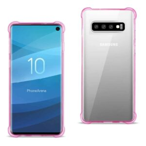 SAMSUNG GALAXY S10 Clear Bumper Case With Air Cushion Protection In Clear Hot Pink