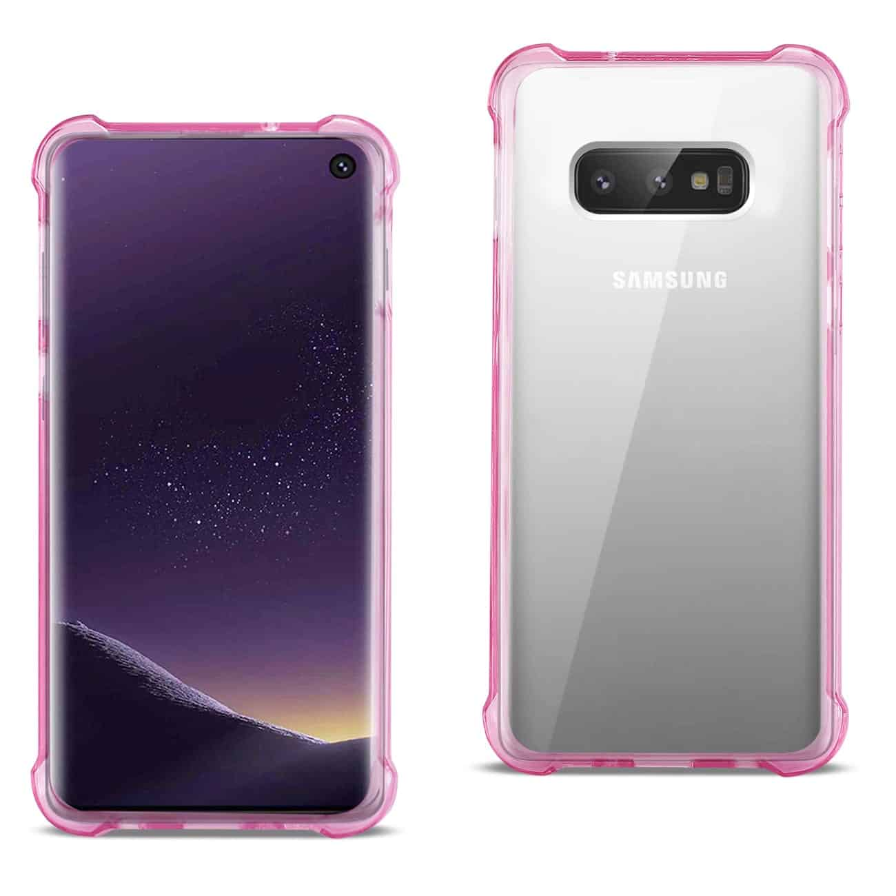 SAMSUNG GALAXY S10 Lite(S10e) Clear Bumper Case With Air Cushion Protection In Clear Hot Pink