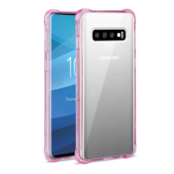 SAMSUNG GALAXY S10 Plus Clear Bumper Case With Air Cushion Protection In Clear Hot Pink