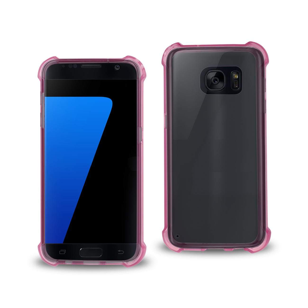 SAMSUNG GALAXY S7 CLEAR BUMPER CASE WITH AIR CUSHION PROTECTION IN CLEAR HOT PINK