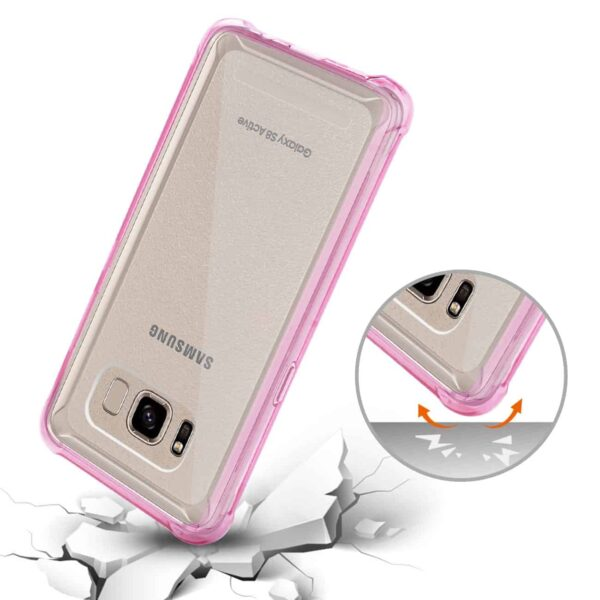 SAMSUNG GALAXY S8 ACTIVE CLEAR BUMPER CASE WITH AIR CUSHION PROTECTION IN CLEAR HOT PINK