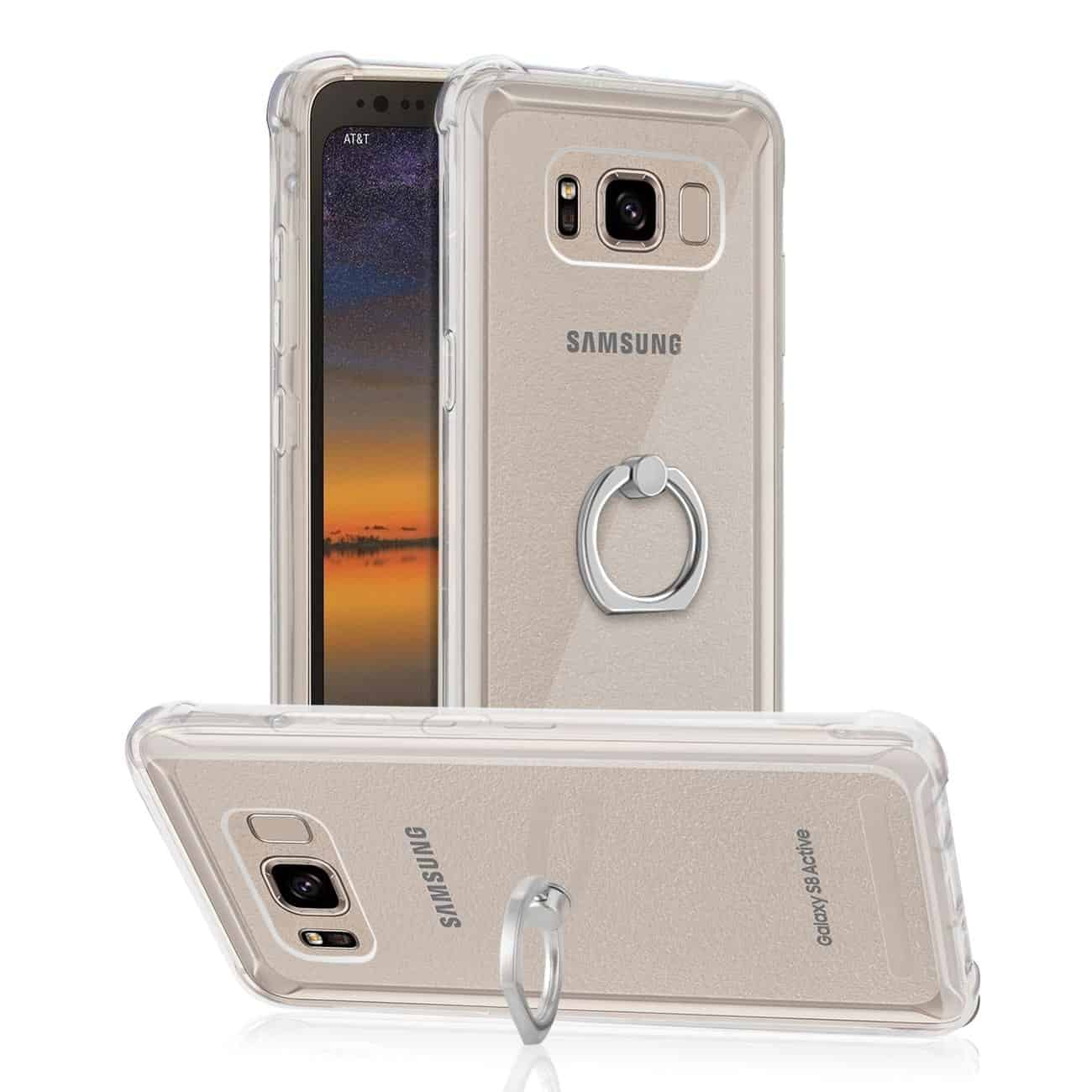 SAMSUNG GALAXY S8 ACTIVE TRANSPARENT AIR CUSHION PROTECTOR BUMPER CASE WITH RING HOLDER IN CLEAR