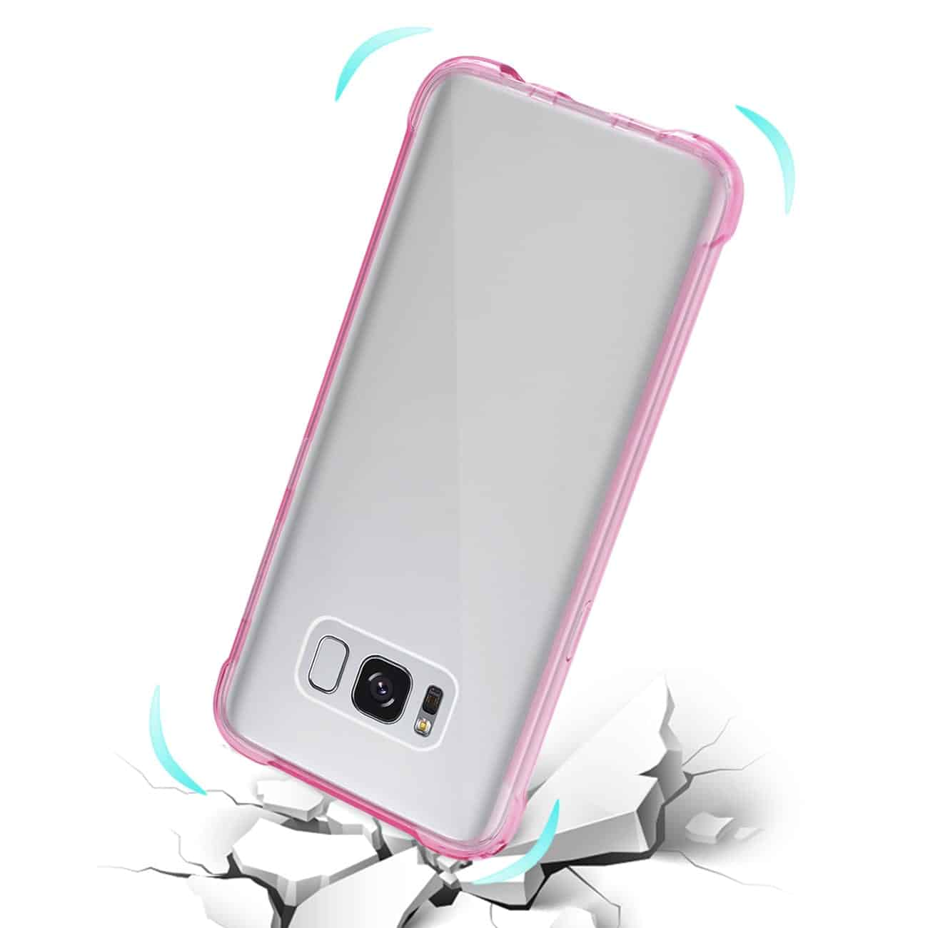 SAMSUNG GALAXY S8 CLEAR BUMPER CASE WITH AIR CUSHION PROTECTION IN CLEAR HOT PINK