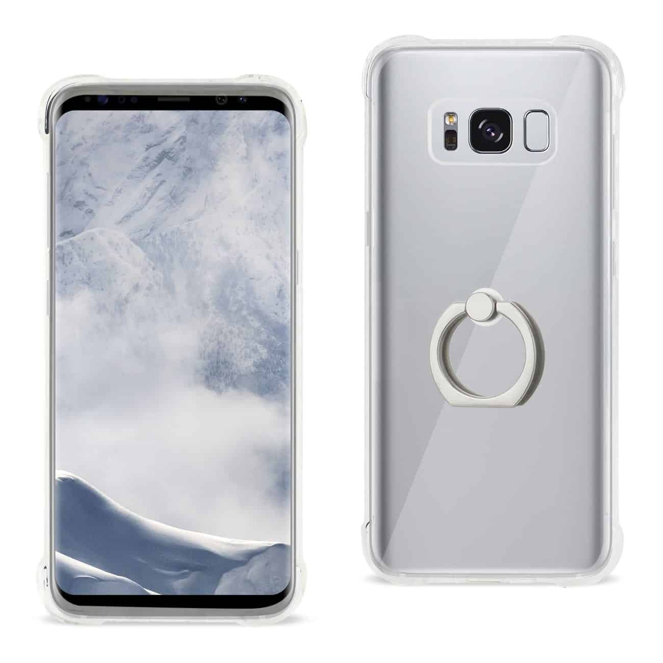 Samsung Galaxy S8 Transparent Air Cushion Protector Bumper Case With Ring Holder In Clear