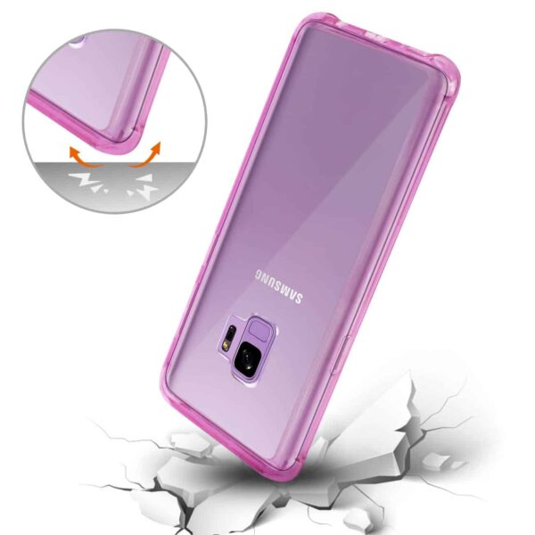 Samsung Galaxy S9 Clear Bumper Case With Air Cushion Protection In Clear Hot Pink
