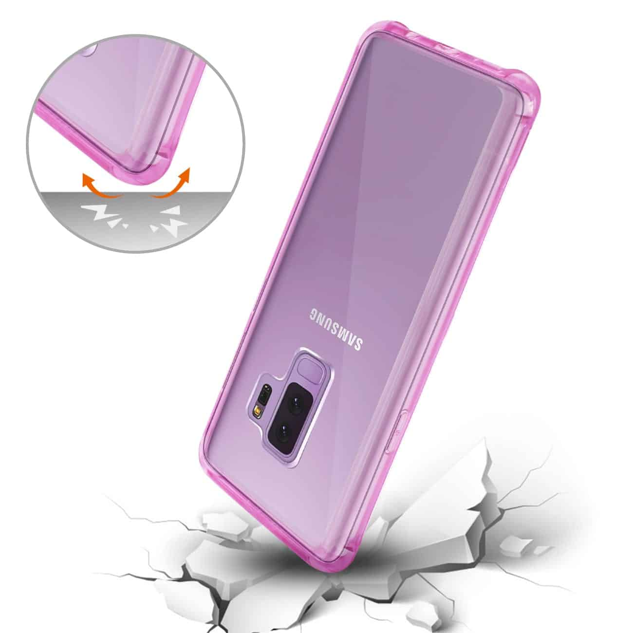 Samsung Galaxy S9 Plus Clear Bumper Case With Air Cushion Protection In Clear Hot Pink