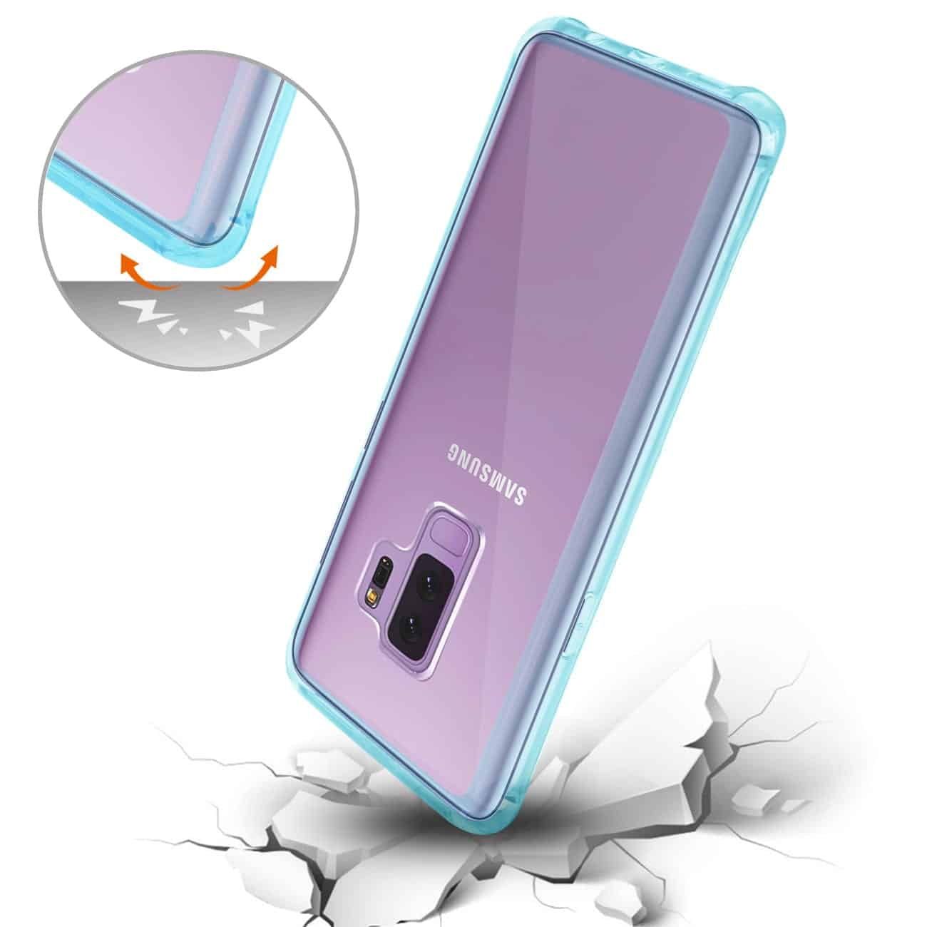 Samsung Galaxy S9 Plus Clear Bumper Case With Air Cushion Protection In Clear Navy