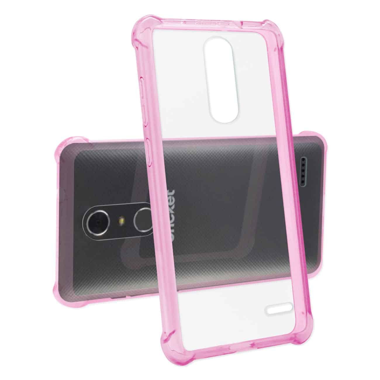 ZTE GRAND X4 CLEAR BUMPER CASE WITH AIR CUSHION PROTECTION IN CLEAR HOT PINK