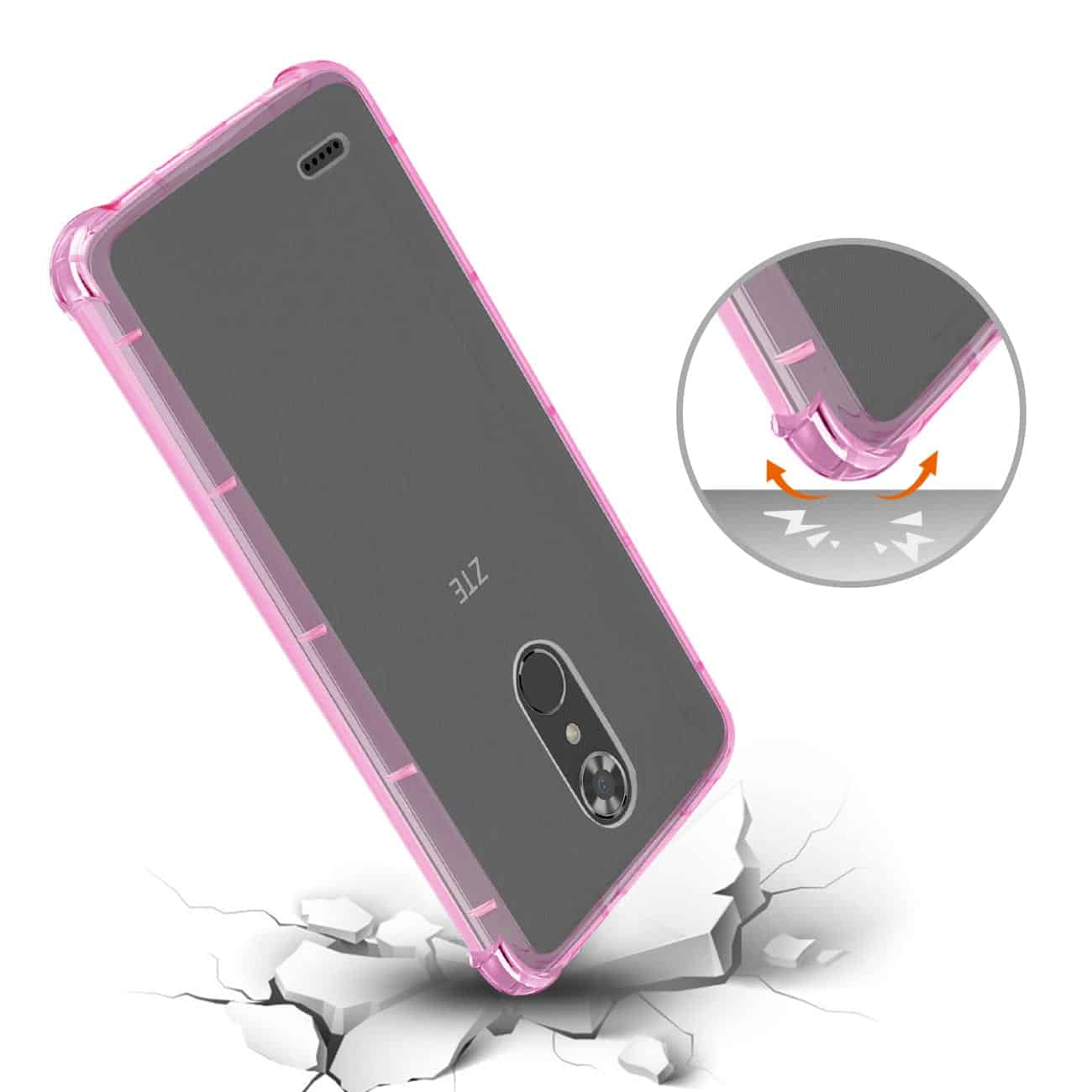 ZTE MAX XL/ N9560 CLEAR BUMPER CASE WITH AIR CUSHION PROTECTION IN CLEAR HOT PINK