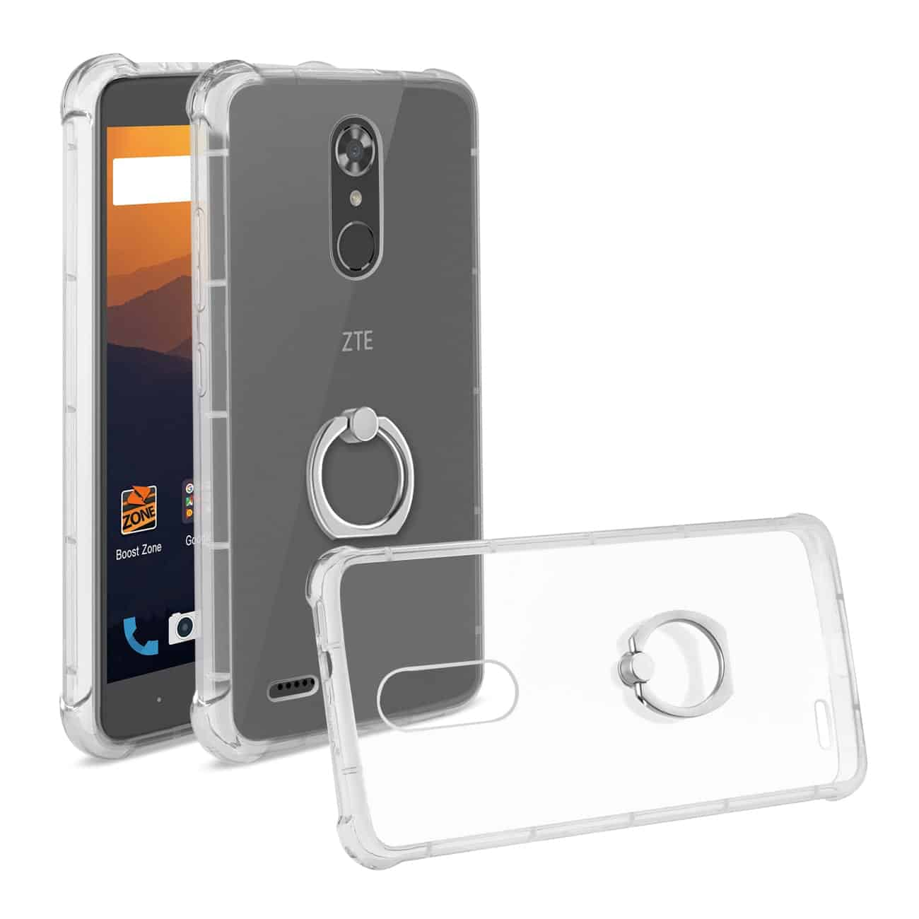 ZTE MAX XL/ N9560 TRANSPARENT AIR CUSHION PROTECTOR BUMPER CASE WITH RING HOLDER IN CLEAR