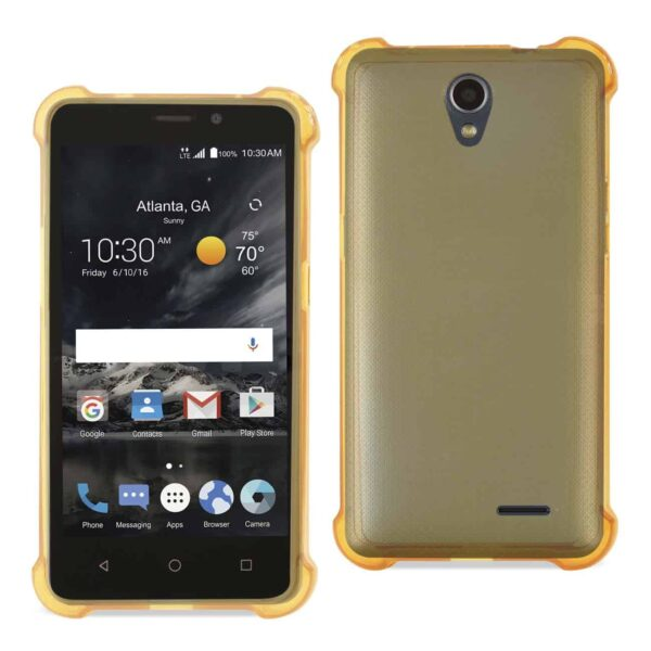 ZTE MAVEN 2/ CHAPEL (Z831) CLEAR BUMPER CASE WITH AIR CUSHION PROTECTION IN CLEAR GOLD
