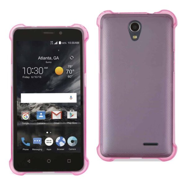 ZTE MAVEN 2/ CHAPEL (Z831) CLEAR BUMPER CASE WITH AIR CUSHION PROTECTION IN CLEAR HOT PINK