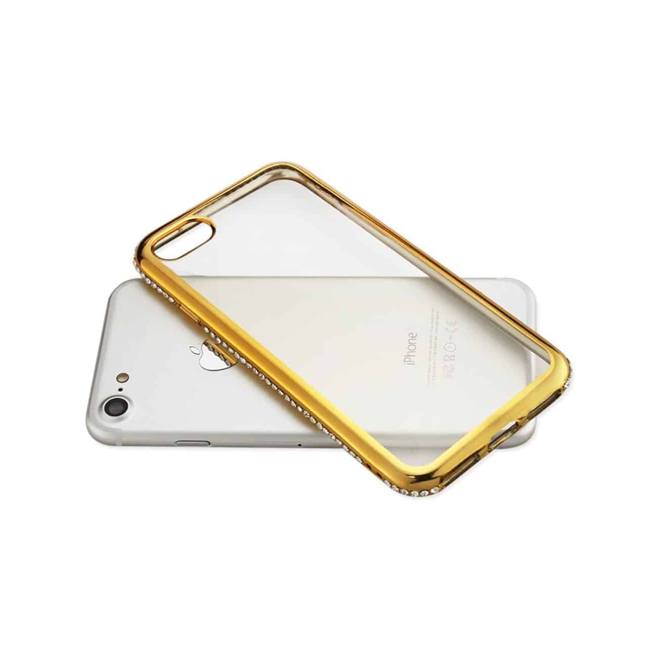 IPHONE 7 SOFT TPU SLIM CLEAR CASE WITH DIAMOND FRAMES IN GOLD