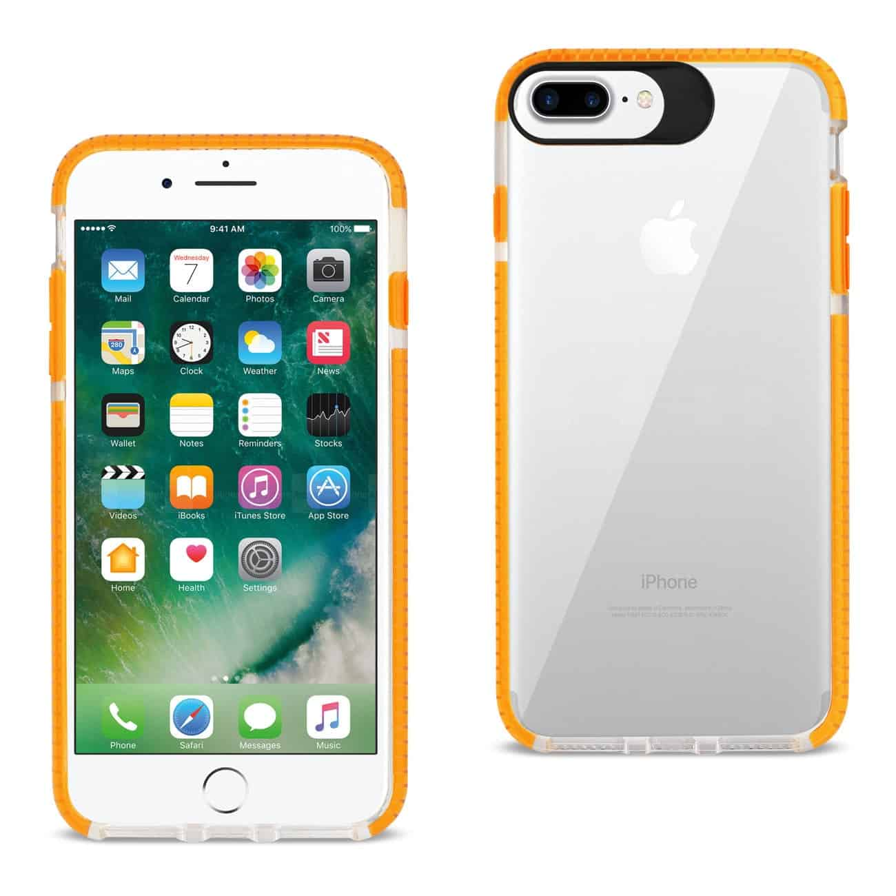 iPhone 8 Plus/ 7 Plus Soft Transparent TPU Case In Clear Orange