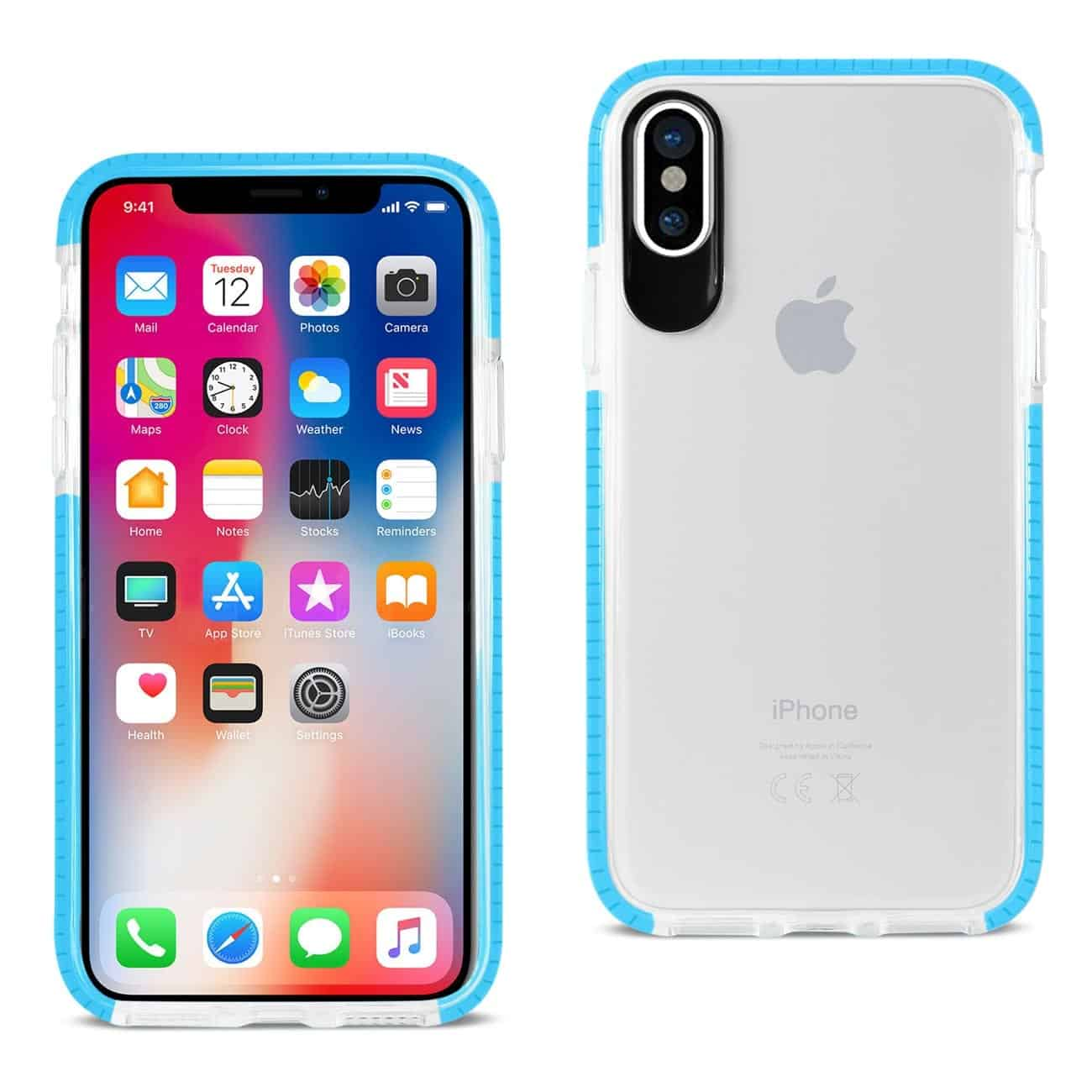IPHONE X SOFT TRANSPARENT TPU CASE IN CLEAR BLUE