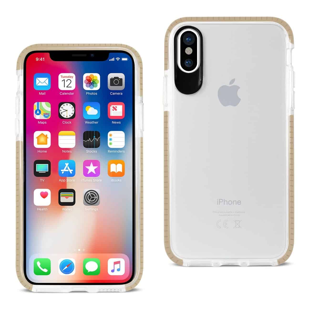 IPHONE X SOFT TRANSPARENT TPU CASE IN CLEAR GOLD