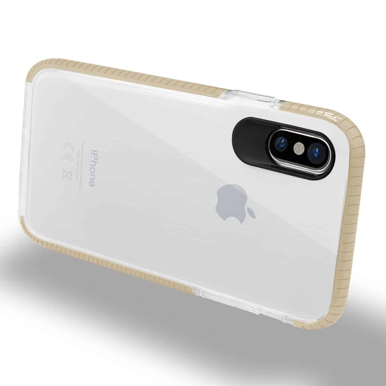 IPHONE X SOFT TRANSPARENT TPU CASE IN CLEAR GOLD