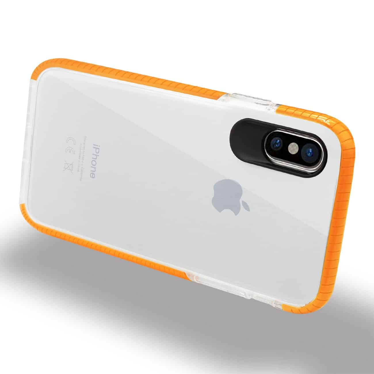 IPHONE X SOFT TRANSPARENT TPU CASE IN CLEAR ORANGE