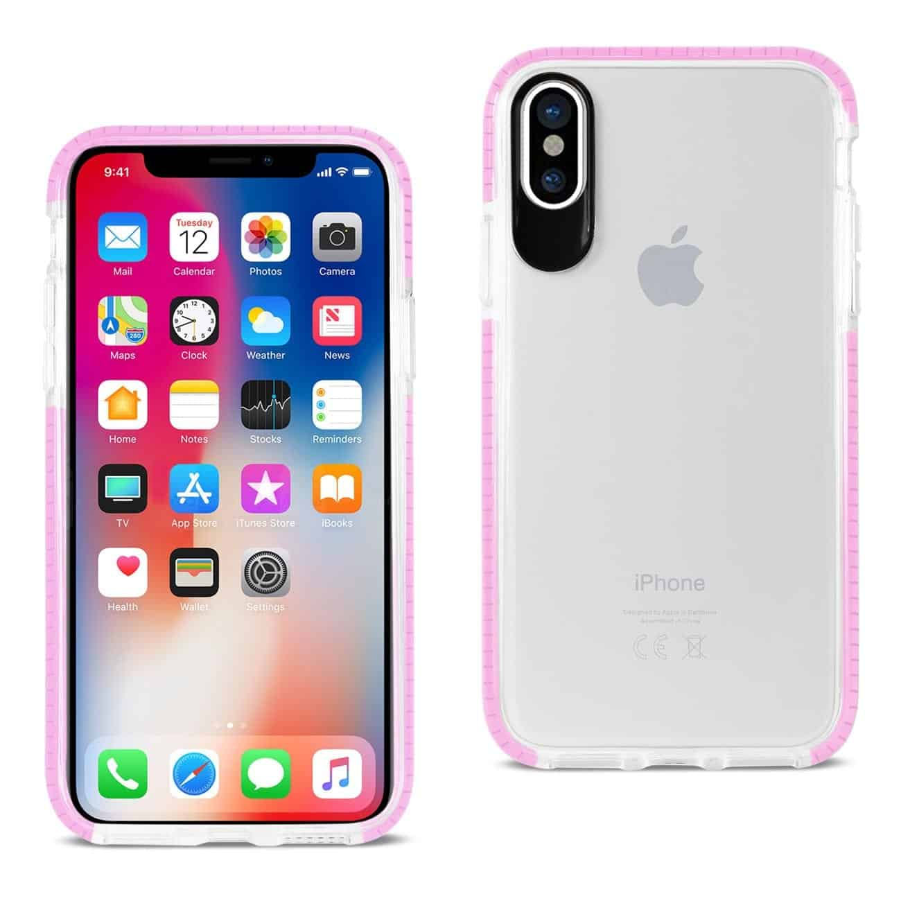 IPHONE X SOFT TRANSPARENT TPU CASE IN CLEAR PINK