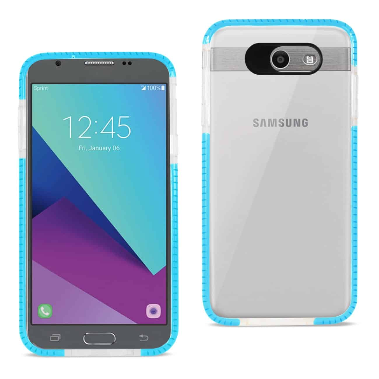 SAMSUNG GALAXY J7 V (2017) SOFT TRANSPARENT TPU CASE IN CLEAR BLUE