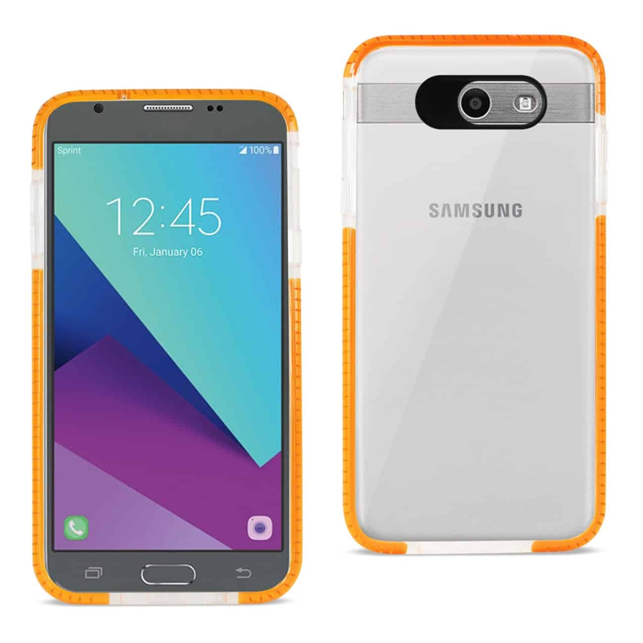 SAMSUNG GALAXY J7 V (2017) SOFT TRANSPARENT TPU CASE IN CLEAR ORANGE