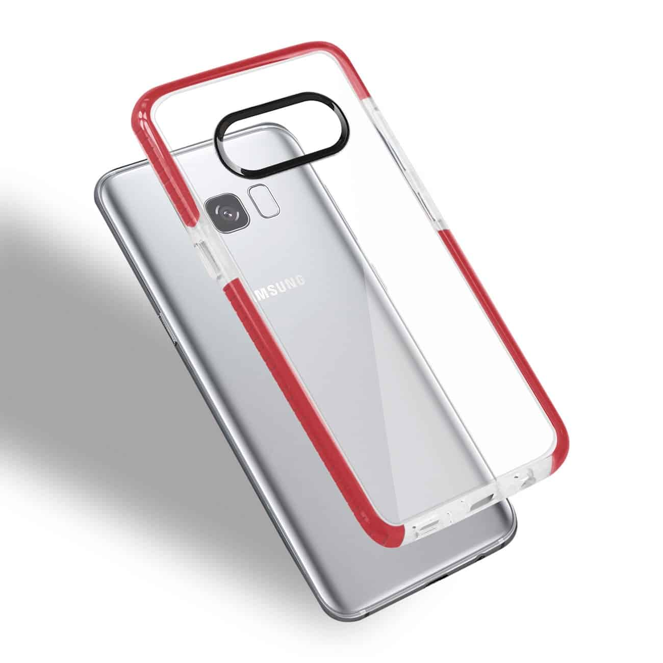 SAMSUNG GALAXY S8/ SM SOFT TRANSPARENT TPU CASE IN CLEAR RED