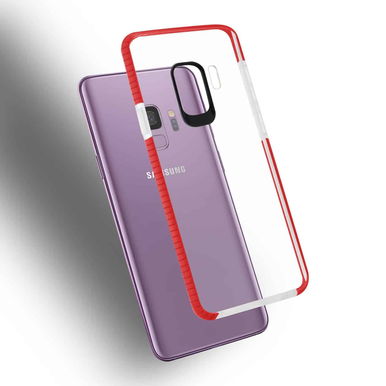 Samsung Galaxy S9 Soft Transparent TPU Case In Clear Red
