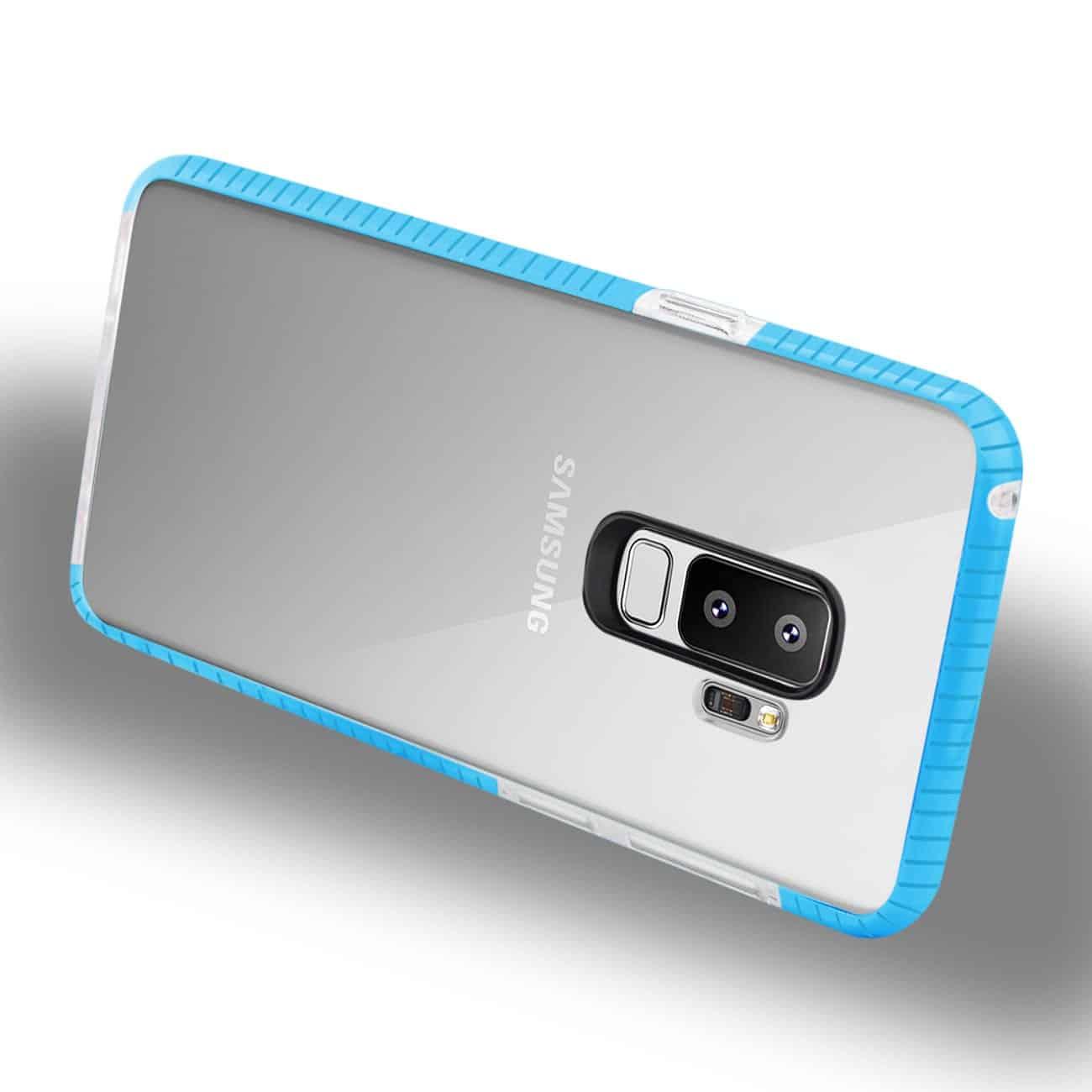 Samsung Galaxy S9 Plus Soft Transparent TPU Case In Clear Blue