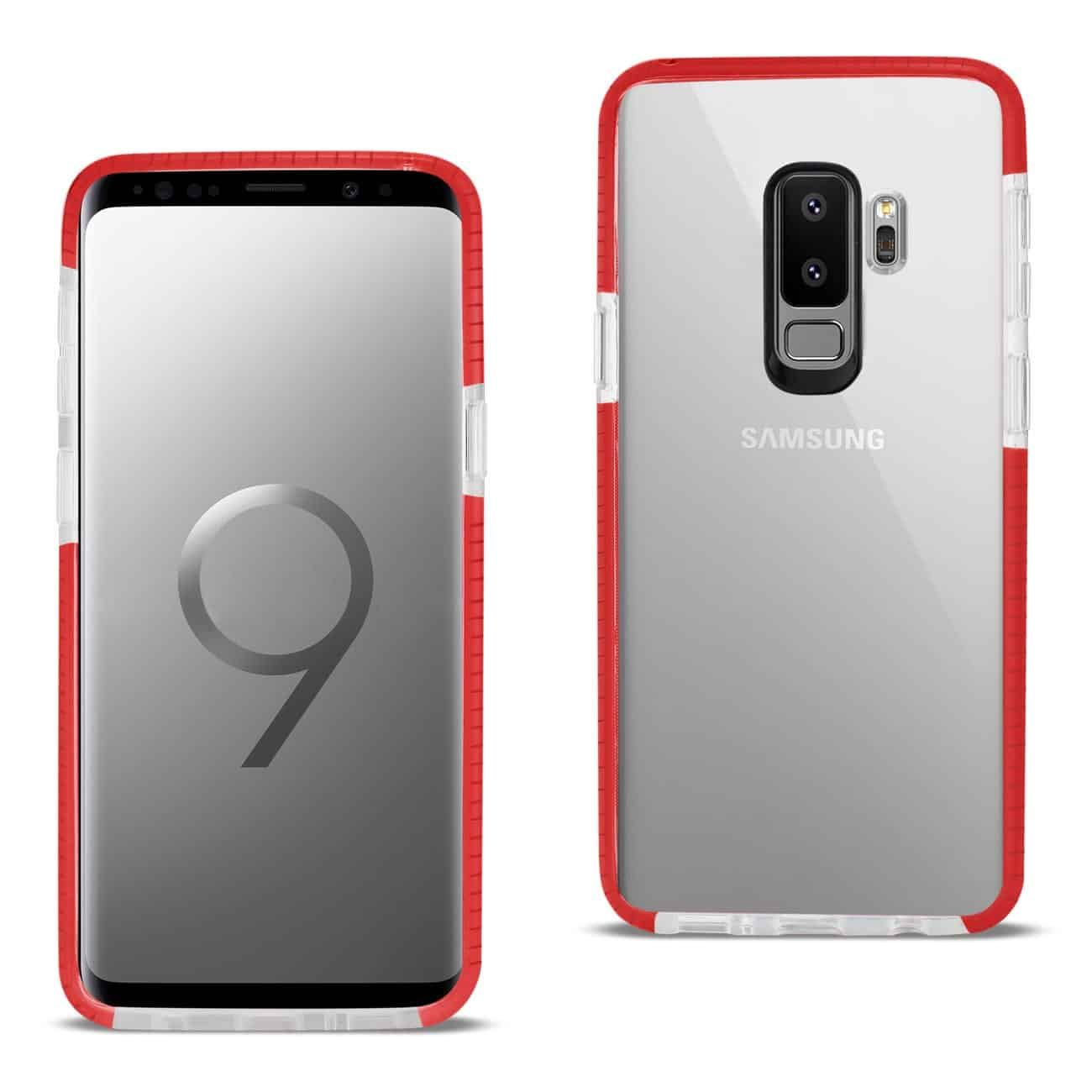 Samsung Galaxy S9 Plus Soft Transparent TPU Case In Clear Red