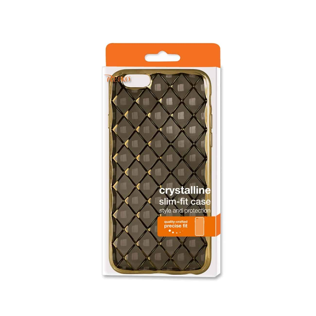 IPHONE 6S PLUS FLEXIBLE 3D RHOMBUS PATTERN TPU CASE WITH SHINY FRAME IN BLACK