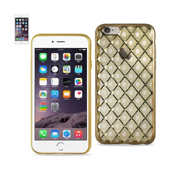 IPHONE 6S PLUS FLEXIBLE 3D RHOMBUS PATTERN TPU CASE WITH SHINY FRAME IN GOLD