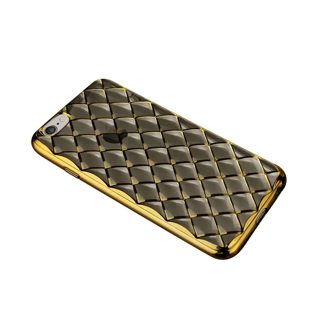 IPHONE 6S FLEXIBLE 3D RHOMBUS PATTERN TPU CASE WITH SHINY FRAME IN BLACK