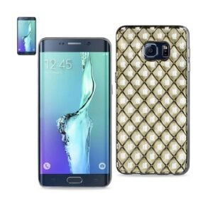 SAMSUNG GALAXY S6 EDGE PLUS FLEXIBLE 3D RHOMBUS PATTERN TPU CASE WITH SHINY FRAME IN CLEAR
