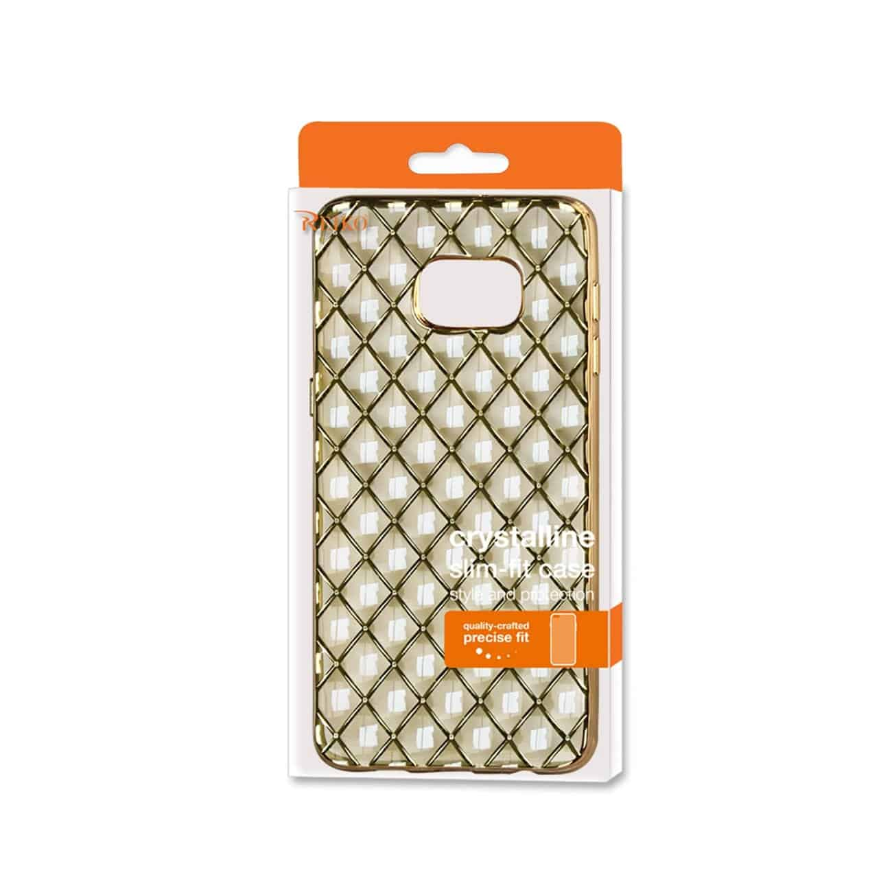 SAMSUNG GALAXY S6 EDGE PLUS FLEXIBLE 3D RHOMBUS PATTERN TPU CASE WITH SHINY FRAME IN GOLD