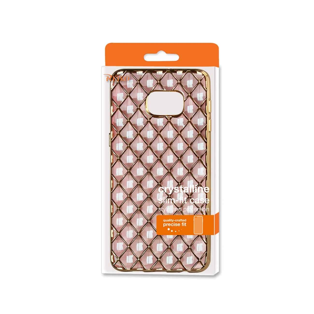 SAMSUNG GALAXY S6 EDGE PLUS FLEXIBLE 3D RHOMBUS PATTERN TPU CASE WITH SHINY FRAME IN PINK