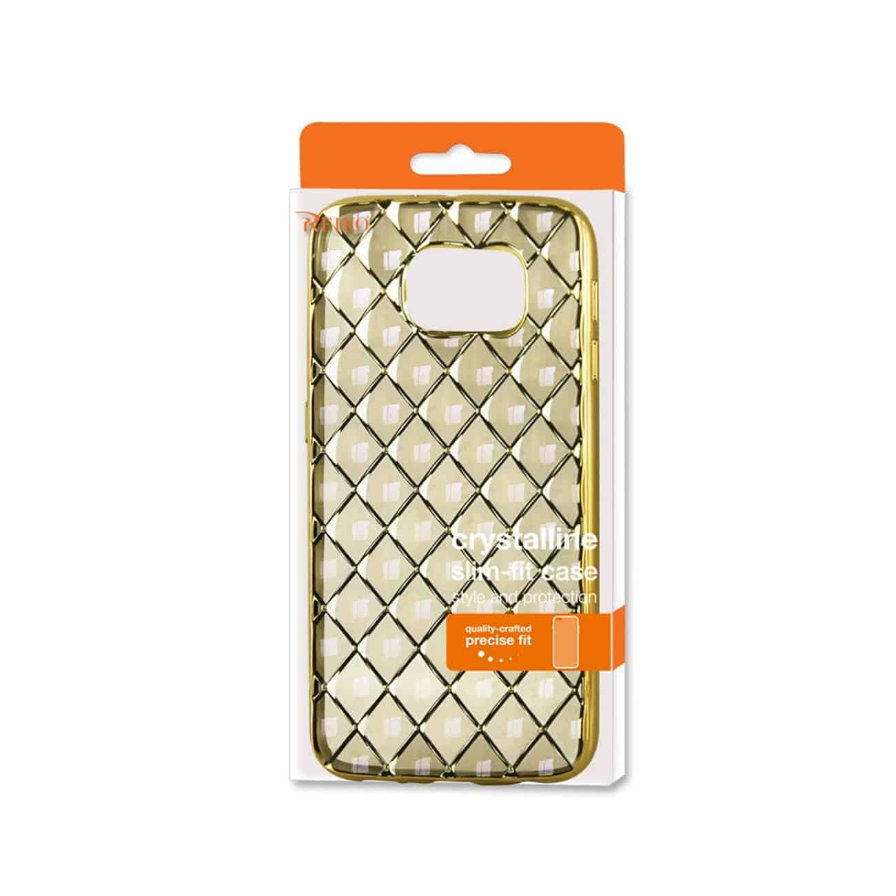 SAMSUNG GALAXY S6 FLEXIBLE 3D RHOMBUS PATTERN TPU CASE WITH SHINY FRAME IN GOLD