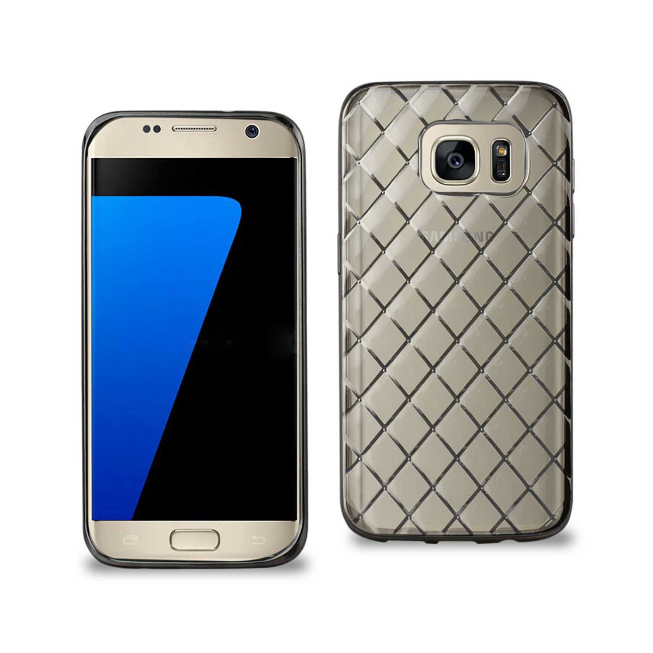 SAMSUNG GALAXY S7 FLEXIBLE 3D RHOMBUS PATTERN TPU CASE WITH SHINY FRAME IN CLEAR