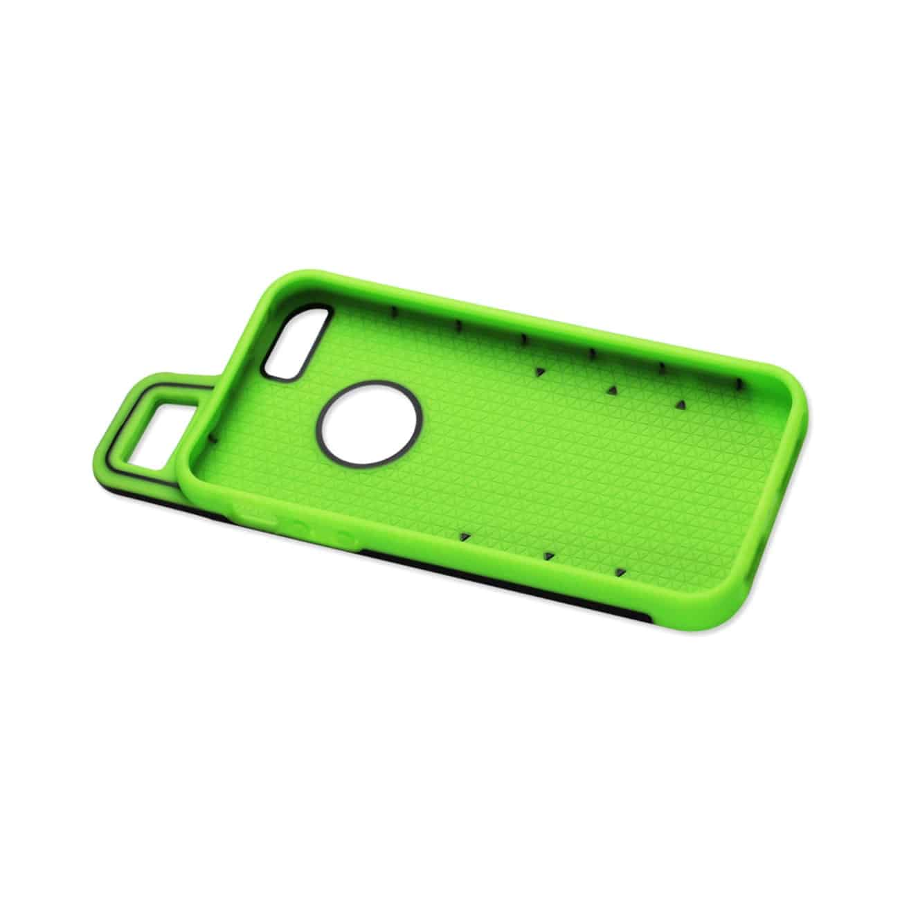 IPHONE 5/5S/SE DROPPROOF WORKOUT HYBRID CASE WITH HOOK IN BLACK GREEN