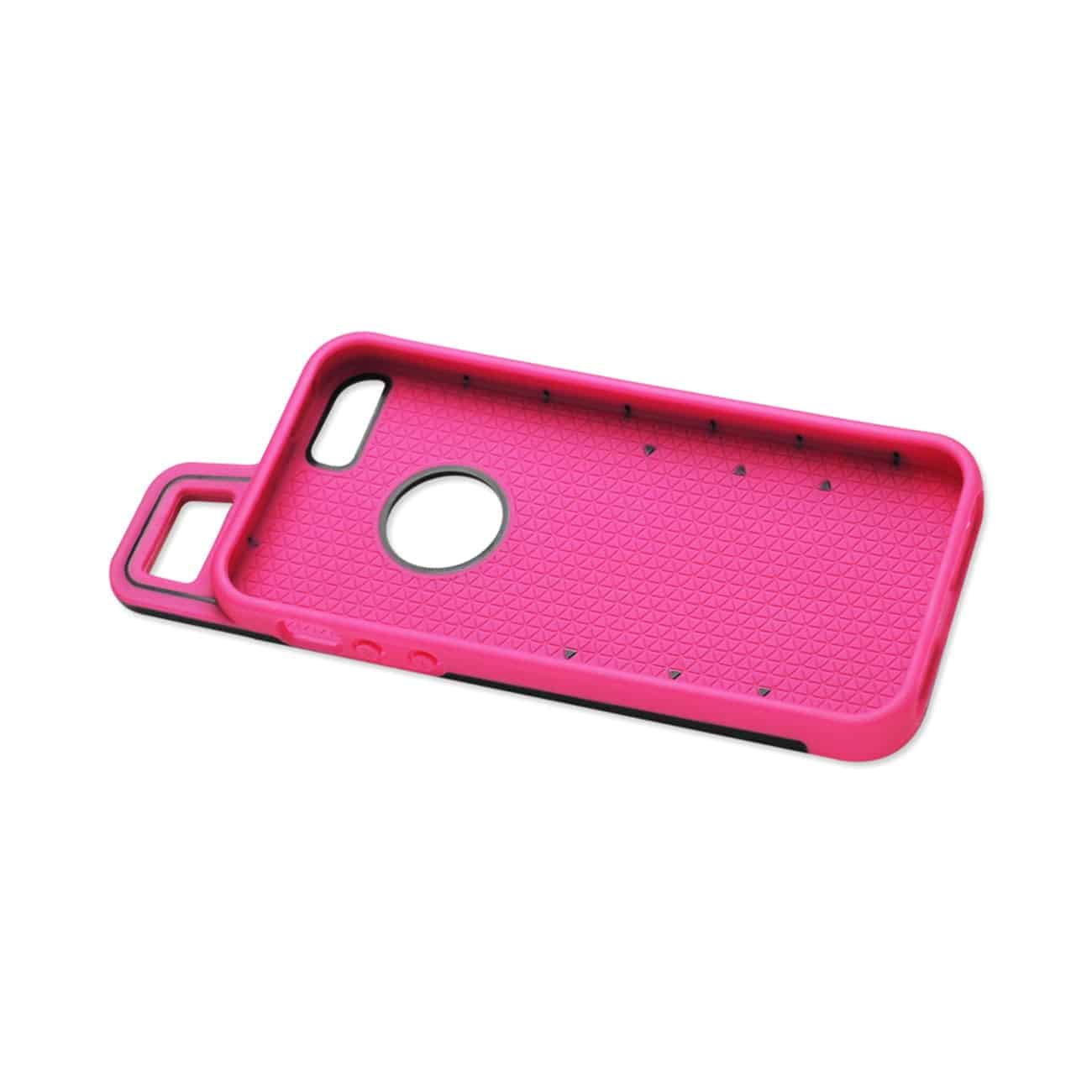 IPHONE 5/5S/SE DROPPROOF WORKOUT HYBRID CASE WITH HOOK IN BLACK HOT PINK
