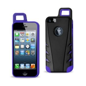 IPHONE 5/5S/SE DROPPROOF WORKOUT HYBRID CASE WITH HOOK IN BLACK PURPLE