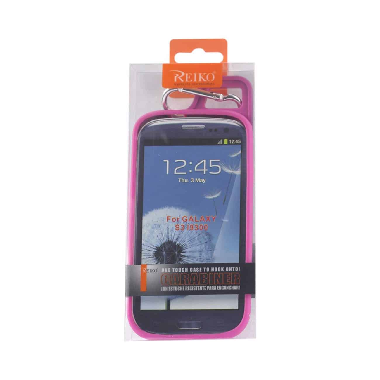 SAMSUNG GALAXY S3 DROPPROOF WORKOUT HYBRID CASE WITH HOOK IN BLACK HOT PINK