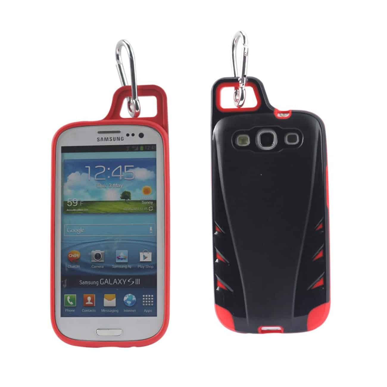 SAMSUNG GALAXY S3 DROPPROOF WORKOUT HYBRID CASE WITH HOOK IN BLACK RED