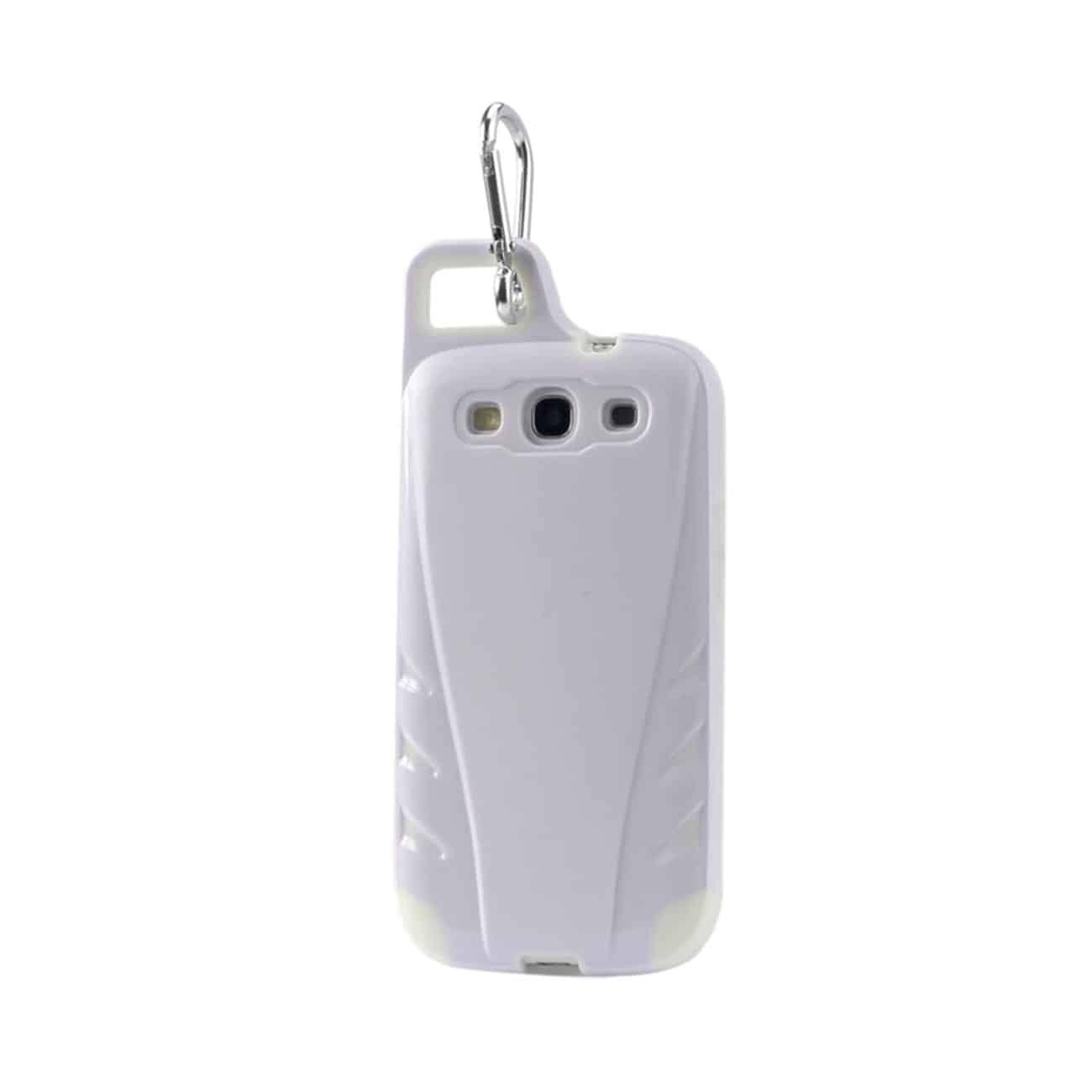 SAMSUNG GALAXY S3 DROPPROOF WORKOUT HYBRID CASE WITH HOOK IN WHITE